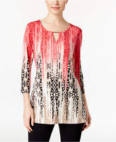 JM Collection Petite Printed Keyhole Hardware Tunic, Only at Macy's