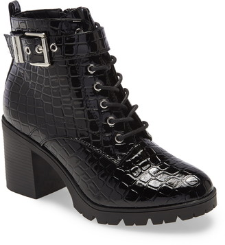 Topshop Broadway Croc Embossed Lace-Up Boot