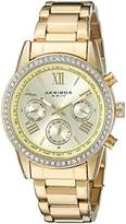 Akribos XXIV Women's Exquisite Multifunction Watch with Rose Gold-Tone Dial and Bracelet, and Crystal-Accented Bezel AK872RG