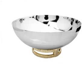 """Classic Touch 11.5"""" Stainless Steel Bowl with Gold-Tone Loop Base"""