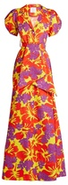 Rosie Assoulin Tropical-print puff-sleeved cotton-blend gown
