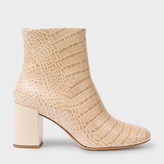 Paul Smith Women's Taupe Mock Croc Leather 'Sinah' Ankle Boots