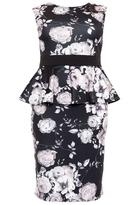 Quiz Curve Black And Grey Floral Sleeveless Peplum Dress