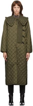 Ganni Khaki Recycled Ripstop Coat