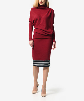 LADA LUCCI Women's Casual Skirts Burgundy - Burgundy Sweater & Pencil Skirt - Women & Plus