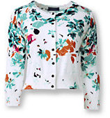 Lands' End Women's Tall Supima 3/4 Sleeve Fitted Cardigan Sweater-White Tossed Floral