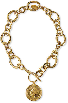 Devon Leigh Gold Coin Thick Link Chain Necklace