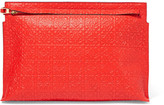 Loewe T Embossed Leather Clutch - Red