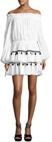 Caroline Constas Lou Pompom Off-the-Shoulder Mini Dress, White