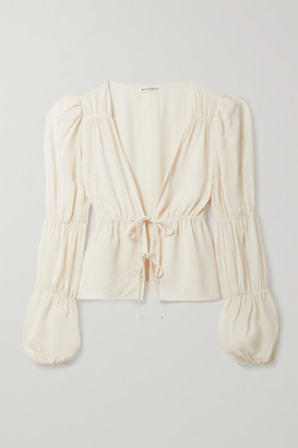 Reformation Net Sustain Heartthrob Tie-front Gathered Georgette Blouse - Cream
