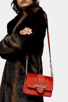 Topshop COMO Rust Velvet Cross Body Bag