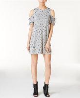 Kensie Polka-Dot Cold-Shoulder Dress