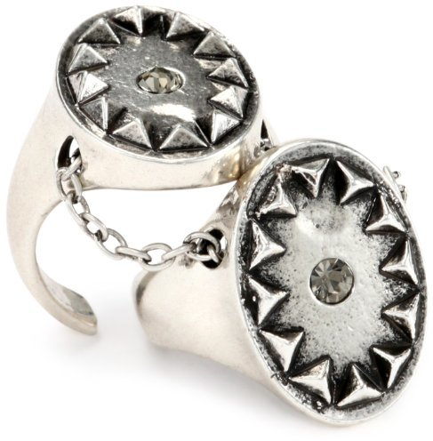 House Of Harlow Silver-Plated Double Metal Sunburst Ring