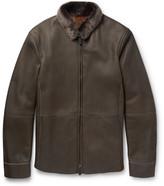 Giorgio Armani Nubuck Shearling Jacket - Taupe