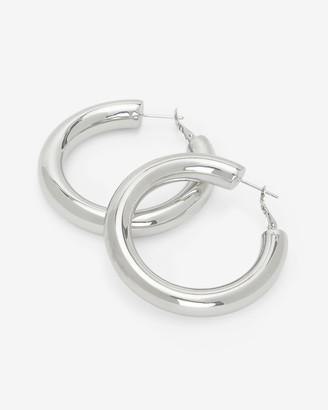 Express Thick Metal Medium Hoop Earrings