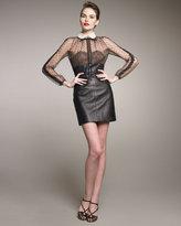 Leather/Swiss Dot Combo Dress