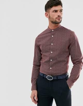 Asos Design DESIGN slim fit smart shirt in polka dot with grandad collar in burgundy-Red