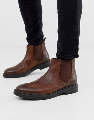 Dune leather chunky chelsea boot in brown