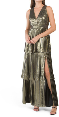 Pleated Metallic Tiered Gown