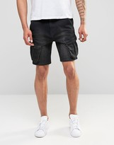 Asos Denim Shorts In Slim Fit With Cargo Styling In Black