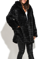 Everest Black Quilted Hooded Faux-Fur Car Coat