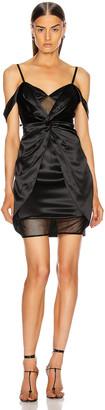 Fleur Du Mal Silk Mesh Draped Slip Dress in Black | FWRD