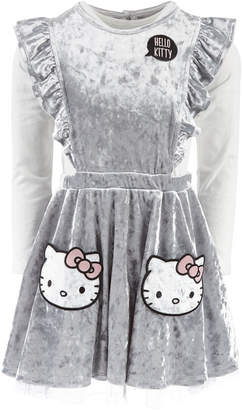 Hello Kitty Little Girls 2-Pc. Ruffled Velvet Pocket Dress & Top