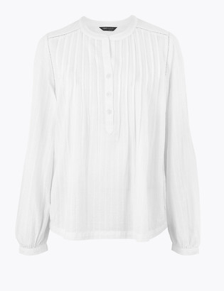 Marks and Spencer Cotton Pintuck Long Sleeve Blouse