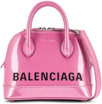 Balenciaga XXS Glitter Ville Top Handle Bag in Old Rose & Black   FWRD