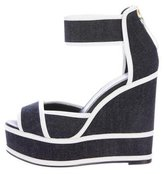 Pierre Hardy Denim Wedge Sandals