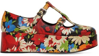 Miu Miu 50mm Printed Crackled Leather Wedges