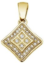 "Direct-Jewelry 14K Yellow Gold Double Star Diamond Pendant with 18"" Chain"