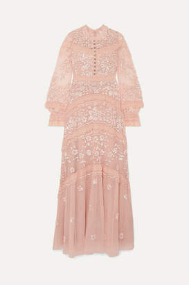 Needle & Thread Ava Lace-trimmed Embellished Tulle Gown - Blush