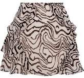 Derek Lam 10 Crosby Ruffled Printed Silk-Chiffon Mini Skirt