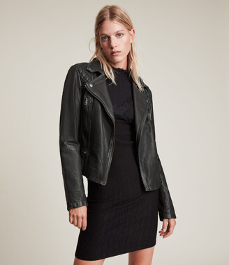AllSaints Women's Regular Fit Cargo Leather Biker Jacket, Black, Size: UK 4/US 0