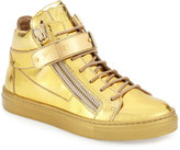 Giuseppe Zanotti Kids' Unisex Metallic Leather High-Top Sneaker, Gold, Toddler/Youth