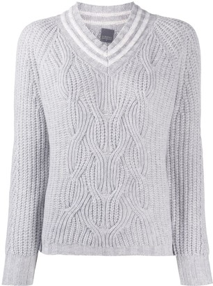 Lorena Antoniazzi Cable Knit V-Neck Jumper