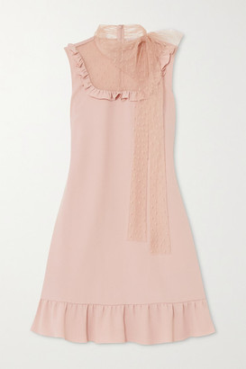 RED Valentino Ruffled Crepe And Point D'esprit Tulle Mini Dress - Blush