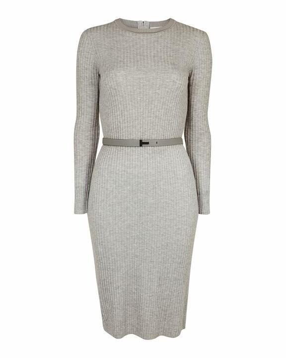 Ted Baker Gjessi Long Sleeve Ribbed Knitted Midi Dress