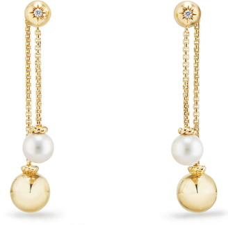 David Yurman Solari Chain Drop Earrings with Diamonds in 18K Gold