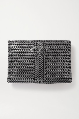 Anya Hindmarch The Neeson Large Woven Metallic Leather Clutch - Gunmetal