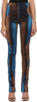 Thierry Mugler Blue and Brown Stretch High-Waist Trousers