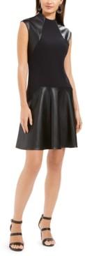 Natori N Faux-Leather & Scuba Flounce Dress