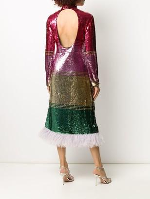 La DoubleJ Feather-Trim Sequin Dress