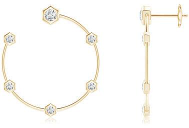 Natori Indochine 14k Small 6-Diamond Side-Facing Open Hoop Earrings