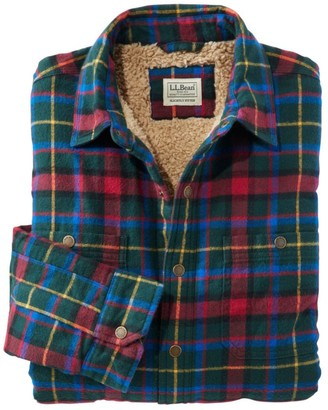 L.L. Bean Sherpa-Lined Scotch Plaid Shirt, Slightly Fitted