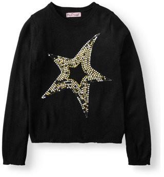 Pink Angel Sequin Star Embellished Pullover Sweater (Little Girls & Big Girls)