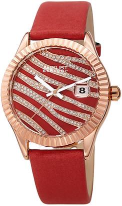 August Steiner Women's Satin Over Leather Watch