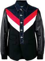 DSQUARED2 denim and leather jacket - men - Cotton/Polyester/Polyurethane/Virgin Wool - 44
