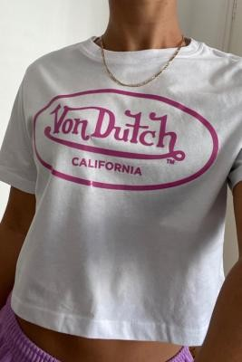 Von Dutch White Cropped T-Shirt - White UK 14 at Urban Outfitters